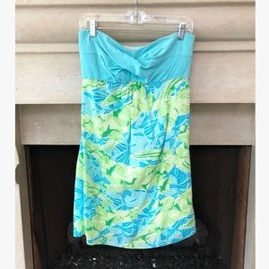 Lilly Pulitzer Regan Aqua Blue Strapless Dress